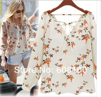 Wholesale 2013 New Long Sleeve V neck Dove Pattern Chiffon Drawstring Slim Fit Stylish Women Blouses