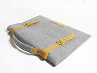 Wholesale For Macbook Pro quot Inch Retina Wool Felt Sleeve Case Bag Leather Handle Straps Briefcase Grey
