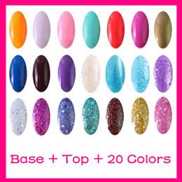 Wholesale 8ml Top Coat Base Coat Primer Color Polish Nail Art UV Gel Kit Soak off Polish Gelish UV lamp Glitter S003