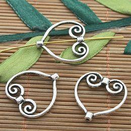 30pcs dark silver tone heart frame charms H3234