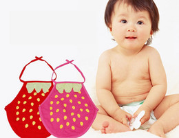 Wholesale Cute Strawberry Baby Apron Bibs Burp Cloths Kid Cotton Belly Circumference Infant Feeding Supplies