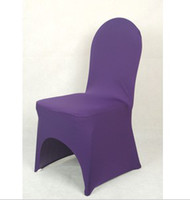 Wholesale MIC Dark Purple Spandex Chair Cover Wedding Decorations