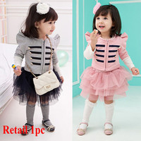 Girl Spring / Autumn Long New girls long sleeve dress suits long sleeve jacket+skirt children autumn clothes girl 2pcs suits