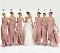 Wholesale Coral Chiffon Bridesmaid Dresses Cheap Long Floor Length Mixed styles