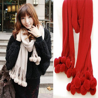 Long Silk Woman autumn and winter women keep warm Super red bayberry ball yarn scarf large scarf Imitation cashmere multicolor