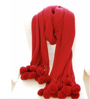 Long Artificial Fur Woman free shipping ~women keep warm autumn and winter Super red bayberry ball yarn scarf large scarf Imitation cashmere multicolor