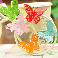 Wholesale 8 Colors Butterfly Fridge Magnets Paper Cut Craft Creative Magnetic Stickers FM012