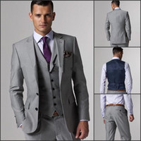 Wholesale 2015 Custom Made Slim Fit Two Buttons Light Grey Groom Tuxedos Notch Lapel Best Man Groomsmen Men Wedding Suits Jacket Pants Tie Vest