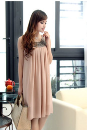 Wholesale Hot Maternity Chiffon Women dress Large yard chiffon dress Beaded Chiffon Dress New W8021
