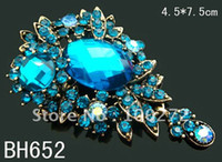 Wholesale vintage pendant flower crystal rhinestone alloy brooch jewelry fashion brooch pin mixed color BH652