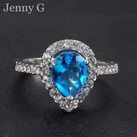 Prong setting tanzanite ring - Jenny G Jewelry Size Romantic Lady s Pear cut Blue Aquamarine KT White Gold Filled Diamonique Gem Ring for Women