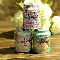 wholesale tea tins - Vintage style flower series tea box Cut tin box storage case organizer Iron case storage container