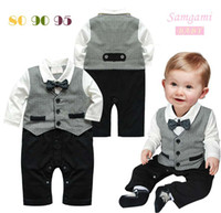 Wholesale 3set Baby Boy Romper Kids Black stripe plaid Romper Children Cotton Suit