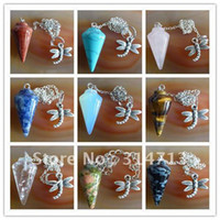 Wholesale 9pcs mixed gemstone Pendulum semi precious jewelry pendant bead