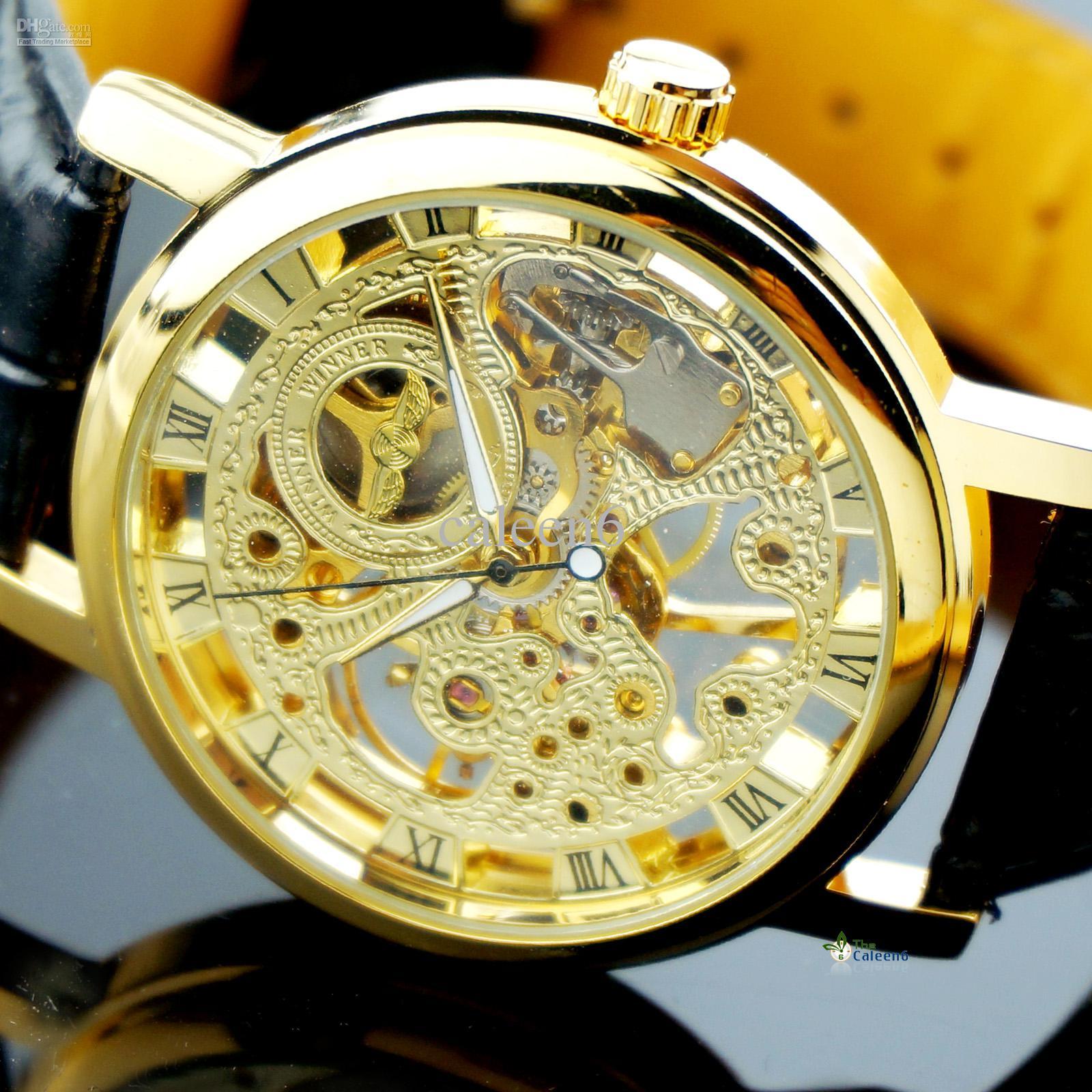 fasion luxury skeleton watch mechanical watches men s watches gold fasion luxury skeleton watch mechanical watches men s watches gold silver leather men watch shipping