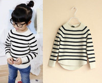 Wholesale Baby girls boys crochet black white stripe pullover children s winter knit sweaters kids girl tops