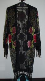 Free Shipping- Peacock Silk Velvet Coat kimono-black