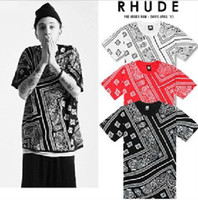 Men Cotton Round Fashion brand T Shirts LA RHUDE Bandana ktz t shirt designer HARAJUKU short sleeve t shirts 3 colors