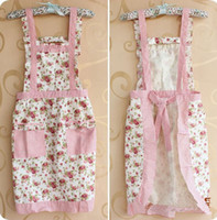 Wholesale Colorful Princess Apron Kitchen Antifouling Apron Pinafore Double Layer With Cuff