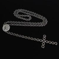 Wholesale 2013 Latest Men s quot Silver Plating Iced Out Rosary Jewelry Clear amp Black CZ Stone