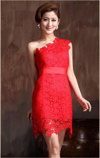 Lace one shoulder sheath dress