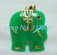 Beaded Necklaces   Charming! 25x25mm Green Jade Elephant Pendant Necklace