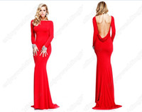 Wholesale 2013 New Sexy Red Long Sleeves Backless Mermaid Rhinestones Evening Dresses