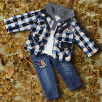 Boy designer coats - 2015 New Designer Children Autumn Suits For Baby Cotton T Shirt And Green Grid Coat And Kids Jeans