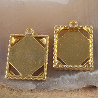 Wholesale 15pcs gold tone picture frame charm H3379