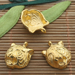 30pcs gold tone tiger head charm H3380