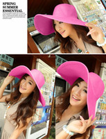 Wholesale Fashion Women Large Wide Brim Floppy Summer Beach Sun Straw Hats Caps HM310