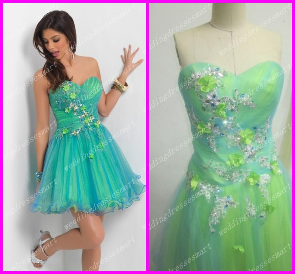 Cheap Short Colorful Floral Homecoming Dresses Custom Made Corset ...