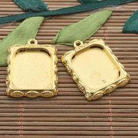 Wholesale 15pcs gold tone leaf design picture frame charm H3390