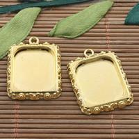 Wholesale 15pcs gold tone picture frame charm H3392