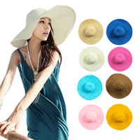 Wholesale Women Colorful Fashion Wide Brim Sun Hat Floppy Summer Beach Straw Caps Hats HM310