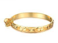 al por mayor pulseras de placas bebé-Buen envío libre N313 precioso oro de la joyería 18k plateó los niños bebé de la campana del corazón de la pulsera del brazalete de 5,4 ''