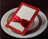 Invitations & Invitation Buckles Folded Red Wholesale-Wedding invitation card red with ribbon tie (envelope and seal enclosed)l