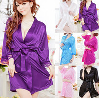 Regular Women Robe Womens Sexy Silk Lace Kimono Bathrobe Dressing Gown Lingerie Sleepwear nightwear (Nx16) free shipping