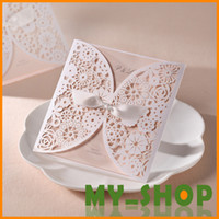 Wholesale White Hollow Foil Stamping Uneven FeDEX DHL Ribbon Lace Wedding Invitations Cards