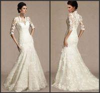 Wholesale 2015 Lace Half Long Sleeves Wedding Dresses Victorian Vintage Mermaid Sheer V neck Mermaid Chapel Train Ivory Bridal Wedding Gowns