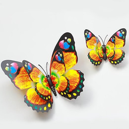 12cm Bright Two-Pair Wings Butterfly Fridge Magnets Simulation Butterfly Brooch Home Decor 100pcs lot FM016