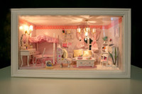 Wholesale Wooden DIY Handmade Assembly Mini House DIY House Doll House Warm House quot Pink Dream quot