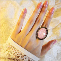 big fashion rings - 248 promotion women girls fashion jewelry vintage oval hollow flower big gemstone audrey head portrait solitaire opening rings