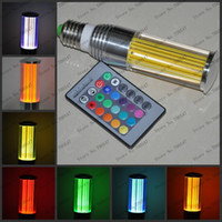 Wholesale SVC109 V E27 W LED RGB Crystal Acrylic Energy saving Lamps Remote Control Lights The Hall Light Coffee Cinema KTV Bulb