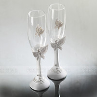 Wholesale Sweet Butterfly Gift Box Packing Sweet Design Wedding Toasting Flutes lovers champagne cup fashion married toast cup