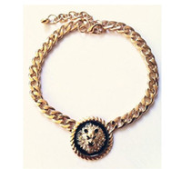 Wholesale New Fashion European Golden Link Chains Round Lion Head Black Enamel Pendant Necklaces N