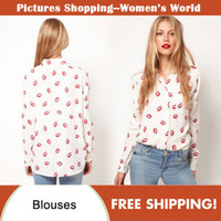 Chiffon sexy blouses - 2014 autumn fashion woman clothing long sleeve blouse sexy red lip print plus size blouses tops for women