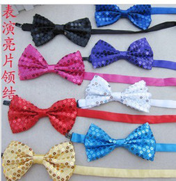 Wholesale Children s tie Dance sequined tie bead tie adult children general hanging with bow tie