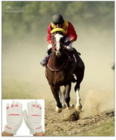 Wholesale High Quality White Soft PU Horse Racing Horse Riding Gloves Equestrian Gloves