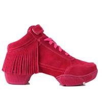 Rubber beautiful dance shoes - NEW Dance Jazz women suede leather tassel increasing Beautiful Shoes